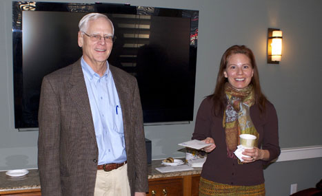 CFNan President Phil Stambaugh presents a grant check to Michelle Whelan, ED of Sustainable Nantucket