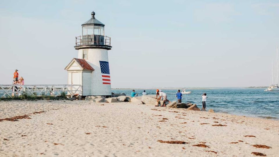 Brant Point Light and beach.