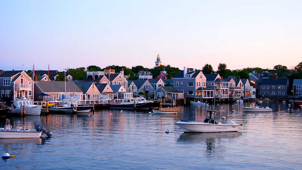 View of downtown Nantucket from the harbor.