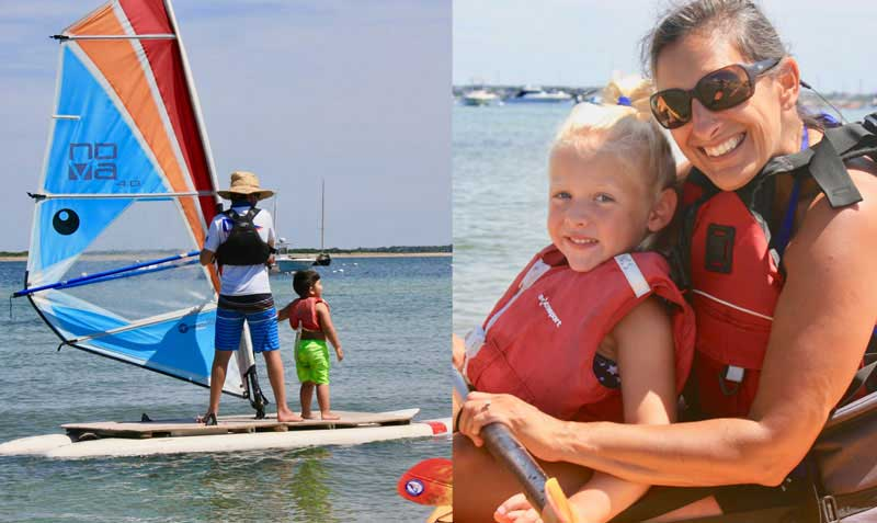 On the left an adult and child on Sailboard on the right women with girl in lifevest.